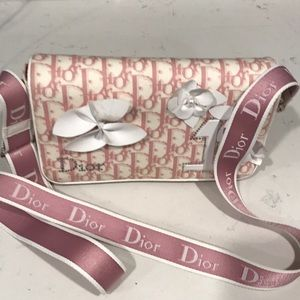 Dior pink and white shoulder bag
